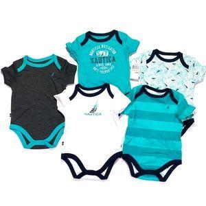 Nautica Baby Boy's 5 Pack Bodysuits Size 3-6M NWT